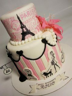 The City of Light and Sweetness: Paris Themed Cakes  Top tier...hand painted