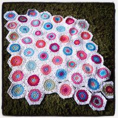 My Hex blanket WIP July 2013