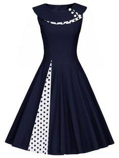 Polka Dot Sleeveless Pleated A Line Dress - PURPLISH BLUE 2XL