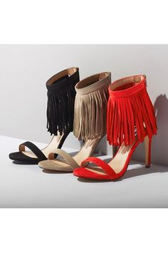 53ce727be21  Staarz  Ankle Fringe Sandal by Steve Madden Lace Up Heels