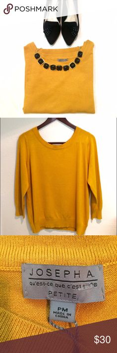 Joseph A Mustard Sweater Top Welcome fall with this warm and cheery mustard/ saffron colored sweater by Joseph A. Never worn.80% Rayon and 20% Nylon. Size: Petite Medium. WOULD COMFORTABLY FIT A SMALL. Comes from a smoke free home. Reasonable offers will be accepted. Joseph A. Sweaters