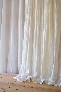 【リノナチュラル ホワイト】 プレーンカーテン  フラット  ひだ山なし  リネンカーテン  中厚地 w115cm×H150cm~  #リネンカーテン #ダブルガーゼカーテン