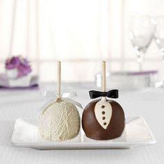 Bride and Groom Caramel Apple-Wedding Favors