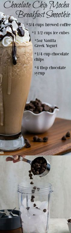 Click pin to get the recipe! Repin to save for later! Creamy vanilla greek yogurt, sweet chocolate chips, and ice combined with bold coffee to create the perfect Chocolate Chip Mocha Breakfast Smoothie. It's healthy protein and sweet, sweet caffeine