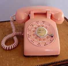 Vintage PINK Rotary Telephone; perfect in a stylish bedroom!