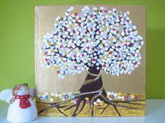 Items similar to Abundance tree - original informed energy painting 20 x 20 cm on Etsy Abundance, My Arts, Tree Paintings, Slovenia, The Originals, Canvas, Artist, Etsy, Tela