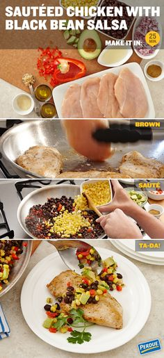 Sauteed Chicken with Black Bean Salsa for dinner tonight! Make it in just 25 minutes.