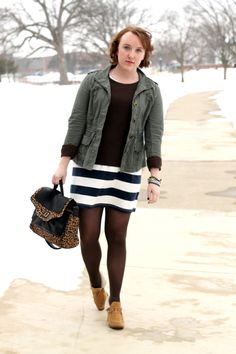 Caitlin of the blog Re-Mix-Her keeps warm in a Gap thermal.