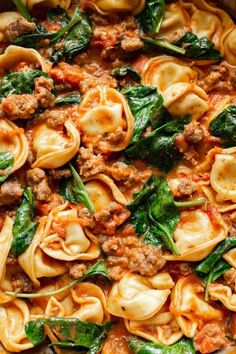This simple one pan recipe makes the perfect easy weeknight dinner! Spinach, sausage, and cheese tortellini in a creamy tomato sauce are heavenly together. dinner One Pan Tortellini with Sausage Easy Weeknight Dinners, Easy Meals, Cheese Tortellini Recipes, Spinach Tortellini, Tortellini Soup, Pasta Facil, Creamy Tomato Sauce, One Pan Meals, Le Diner