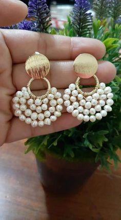 Wire Wrapped Earrings, Gold Hoop Earrings, Beaded Earrings, Beaded Jewelry, Handmade Jewelry, Polymer Clay Jewelry, Jewerly, Lace Jewelry, Diy Earrings