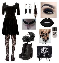 """Gothic Velvet."" by goth-dark-hobbit ❤ liked on Polyvore featuring Leg Avenue, Isabel Marant, Lime Crime, Unearthen and Charm & Chain"