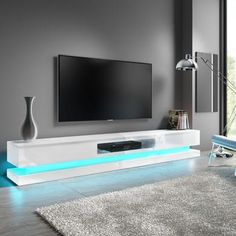 Buy Extra Large White Gloss TV Stand with LEDs- TV's up to - Evoque from Appliances Direct - the UK's leading online appliance specialist Tv Stand With Led Lights, Led Tv Stand, Tv Stand Luxury, High Gloss Tv Unit, White Tv Unit, White Tv Stands, Living Room Tv Unit, Tv Unit Design, Tv Cabinets