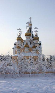 A church in wintry Yakutsk, Siberia, Russia.