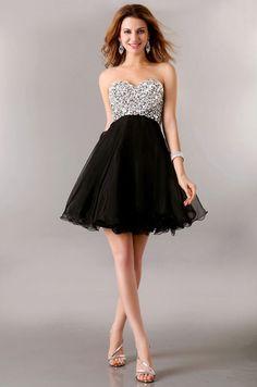 Strapless Sequins Beaded Short Homecoming Dress