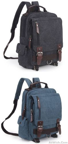 3106bc46a29 Unique Multi Zippers Square Multifunction Shoulder Bag Canvas College Boy s  Backpack for big sale!