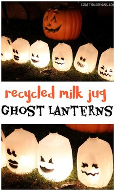 Recycled milk jug ghost lanterns…a fun halloween craft for kids to make! outdo… Recycled milk jug ghost lanterns…a fun halloween craft for kids to make! Halloween Crafts For Kids To Make, Halloween Decorations For Kids, Halloween Fun, Halloween Milk Jugs, Haloween Craft, Diy Ghost Decoration, Halloween Activities For Kids, Halloween Designs, Kids Crafts
