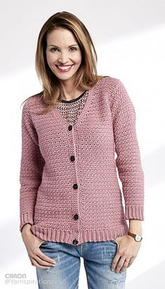 Ravelry: Adult Crochet V-Neck Cardigan pattern by Caron Design Team