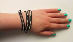 Silver Bead Wrap Bracelet with Blue & Green Crystals
