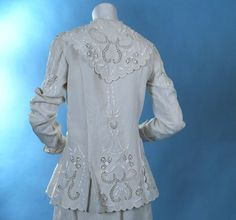 Image detail for -Antique 1910 Densely embroidered white linen walking suit | Carolyn ...