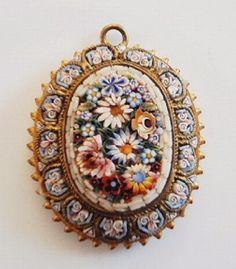 Antique Micromosaic Oval Pendant...