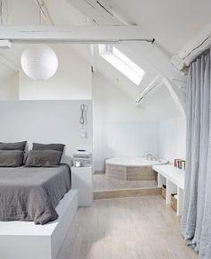 Inspiration déco | Le charme des poutres apparentes… Une chambres cozy sous les toits ! #combles #bedroom