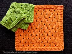 Staggered Eyelets Knitted dishcloth pattern.