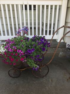 Old baby buggy frame and vintage boiler as planter.