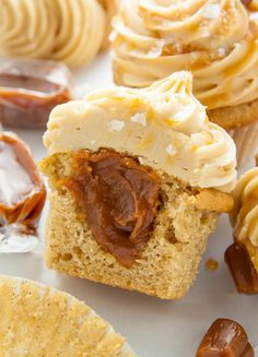 Supremely moist brown sugar cupcakes are stuffed with caramel cream and topped with salted caramel frosting. The best salted caramel cupcakes ever! Cupcake Recipes, Baking Recipes, Cupcake Cakes, Dessert Recipes, Cupcake Ideas, Fruit Recipes, Easy To Make Desserts, Delicious Desserts, Yummy Food