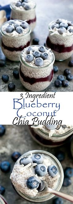 Blueberry Coconut Chia Pudding. Just 3 ingredients for this super easy, foolproof creamy pudding that makes a healthy breakfast, snack or dessert.