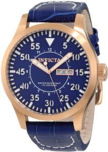 Invicta Men's 11197 Specialty Blue Dial Blue Leather Watch Invicta. $139.50. Quartz movement. Water-resistant to 100 M (330 feet). Flame-fusion crystal; brushed 18k rose gold ion-plated stainless steel case; blue leather strap with contrast stitching. Day and date window. Blue dial with rose gold tone hands, white hour markers and arabic numerals; luminous