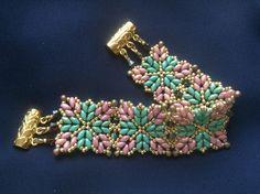Superduos Bracelet (Lt Aqua/Pink/Gold) - No instructions here