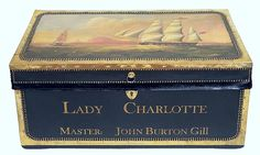 Brass Bound Black Leather Trunk with Ship Scene, England, 19th C.