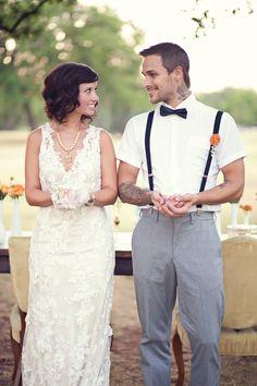 cute tattoo wedding pics plus love the bow tie!