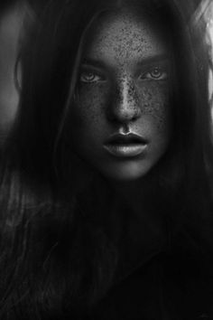 Lara by Jean, What a Face Haunting Eyes & Beautiful Freckles with Sexy Lips. Close Up Photography, People Photography, Black And White Photography, Chiaroscuro Photography, Beautiful Freckles, Look Into My Eyes, Photographs Of People, Face Expressions, Female Portrait