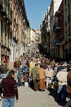Spain, Madrid, El Rastro, street market their version of the flee market