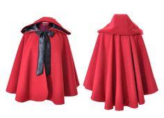 Cape capuche Petit Chaperon rouge et noir