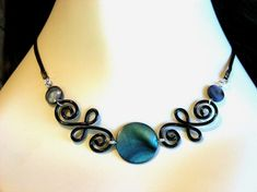 New - MOON - necklace with scrolly Gothic wire work