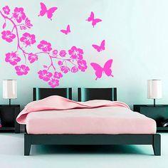 Tree Wall Decals Flowers Decal Vinyl Butterfly Sticker for Kitchen Window Nursery Bedroom Room Home Decor Art Murals Ah89