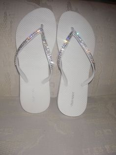 Perfect for a Wedding-- REAL Swarovski Crystals on White Flip Flops- Size 8. Can do any size. $24.99, via Etsy.