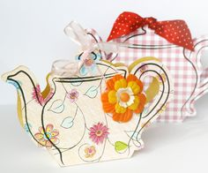 kids crafts ideas  pdf template for cute tea pot gift card/box, opens out with a compartment to hold flavoured tea bags, very sweet.