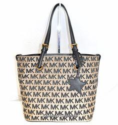 d5ac3465a8cf Michael Kors Signature Tote Bag Purse w  Star Charm Black Beige NWT   MichaelKors  TotesShoppersShoulderBag