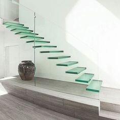 [Hot Item] Laminated Glass for Durable Modern Stairs Glass Suppliers Stair Banister, New Staircase, Staircase Design, Staircase Ideas, Luxury Staircase, Stair Design, Spiral Staircases, Glass Fit, Curved Glass