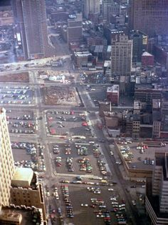 Empty blocks north of the World Trade Center from the 58th floor of the North Tower. This is Tribeca now. The igloos were sales offices for Independence Plaza North, Manhattan, April 1974.