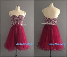 A Line Beads Sweetheart Short Prom Dress, Knee Length Tulle Skirt Prom Dress, Burgundy Beads Tulle Cocktail Dress Special Occasion Dress
