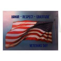 Honor Respect Gratitude - Thank You Veterans Card - veterans day us patriot holiday usa vets