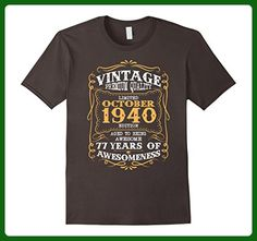 Mens Vintage Born in October 1940 77th Birthday 77 Years Old Small Asphalt - Birthday shirts (*Amazon Partner-Link)