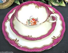 AYNSLEY TEACUP fuschia pink BANDS PATTERN TEA CUP AND SAUCER