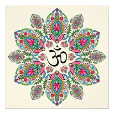 Om Symbol in Block Print Paisley Mandala Invitation from Zazzle.