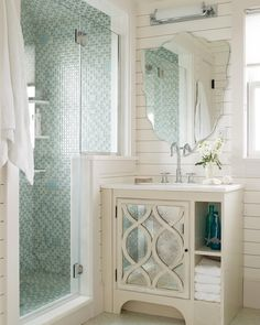 "13.8k Likes, 66 Comments - Better Homes & Gardens (@betterhomesandgardens) on Instagram: ""This small vanity packs a punch! The art-deco door finished with a mirror panel is the center of…"""