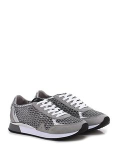 Crime - Sneakers - Donna - Sneaker in camoscio vintage e tessuto lurex con tomaia a retina e suola in gomma. Tacco 30, platform 20 con battuta 10. - SILVER\GREY - € 179.00